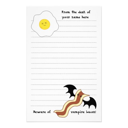 Vampire bacon and dead egg silly breakfast stationery