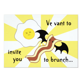 Vampire bacon and dead egg silly brunch card