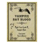 Vampire Bat Blood Halloween Recipe Card Postcard