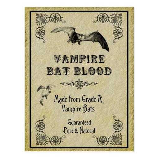 Vampire Bat Blood Halloween Recipe Card Postcards