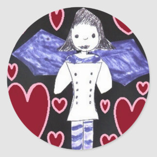 Vampire Bat Girl in Red and Blue Classic Round Sticker
