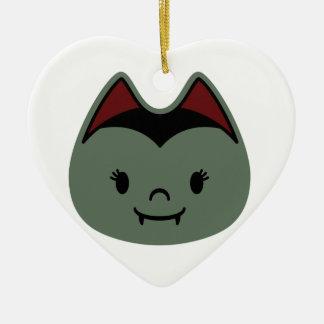 Vampire Bat Kids Double-Sided Heart Ceramic Christmas Ornament