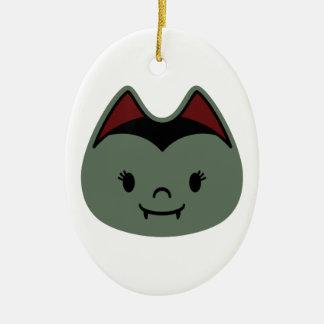 Vampire Bat Kids Double-Sided Oval Ceramic Christmas Ornament