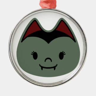 Vampire Bat Kids Round Metal Christmas Ornament