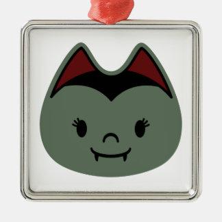 Vampire Bat Kids Square Metal Christmas Ornament