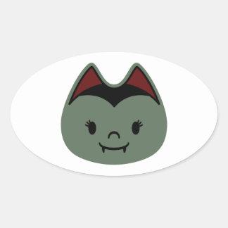 Vampire Bat Kids Oval Sticker