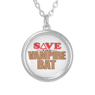 Vampire Bat Save Silver Plated Necklace