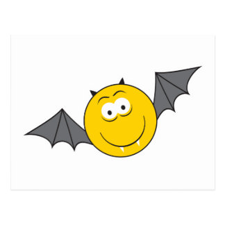 Vampire Bat Smiley Face Postcard