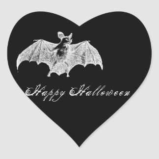 Vampire Bat Wishes Heart Sticker