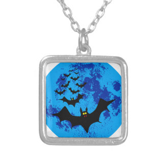 Vampire Bats Against The Blue Moon Silver Plated Necklace