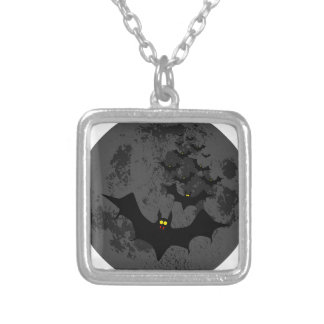 Vampire Bats Against The Dark Moon Silver Plated Necklace
