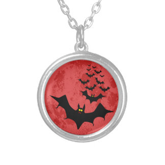 Vampire Bats Against The Red Moon Silver Plated Necklace