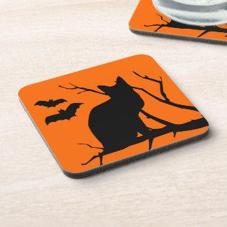 Vampire Bats And Black Cat Spooky Halloween Drink Coaster