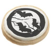 Vampire Bats Full Moon Halloween Party Treats Round Sugar Cookie
