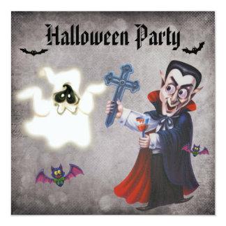 Vampire, Bats & Ghost Damask Halloween Party Card