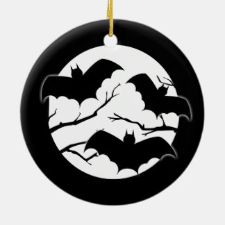 Vampire Bats In Full Moon Halloween Ornament