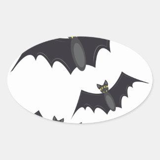 Vampire Bats Oval Sticker