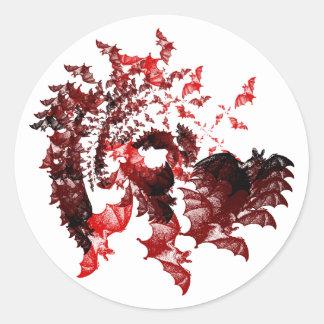 Vampire Bats Red Round Stickers