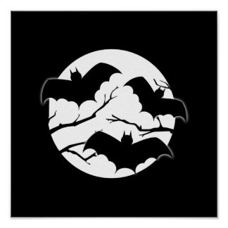 Vampire Bats Trees Silhouette Full Moon Halloween Poster