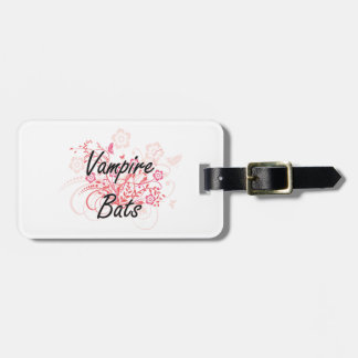 Vampire Bats with flowers background Bag Tag