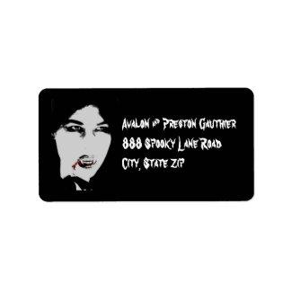 Vampire Black Halloween Personalized Address Label label