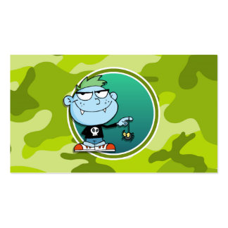 Vampire Boy; bright green camo, camouflage Double-Sided Standard Business Cards (Pack Of 100)