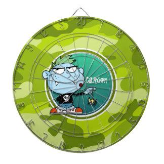 Vampire Boy; bright green camo, camouflage Dart Board
