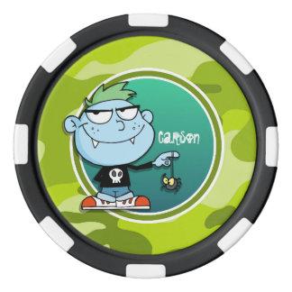 Vampire Boy; bright green camo, camouflage Poker Chip Set