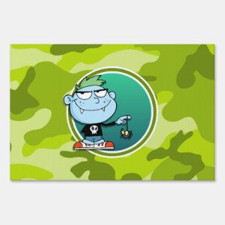 Vampire Boy; bright green camo, camouflage Sign