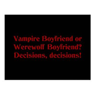 Vampire Boyfriend or Werewolf Boyfriend Postcard