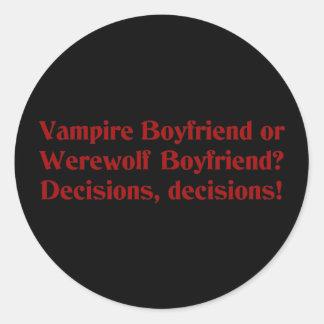 Vampire Boyfriend or Werewolf Boyfriend Stickers