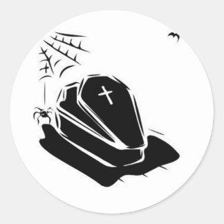 Vampire Casket Round Stickers