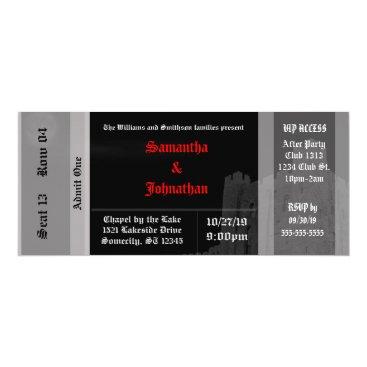 Halloween Themed Vampire Castle Goth Wedding Ticket Invitations