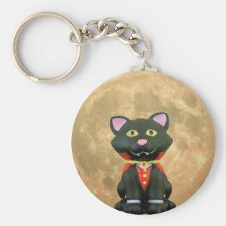 Vampire Cat and Full Moon Keychain