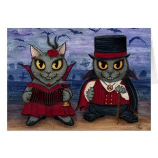 Vampire Cat Couple Gothic Cemetery Fantasy Art Car Greeting Card