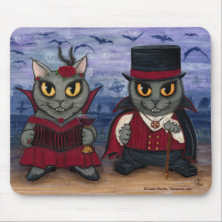 Vampire Cat Couple Gothic Cemetery Fantasy Art Mou Mouse Pad