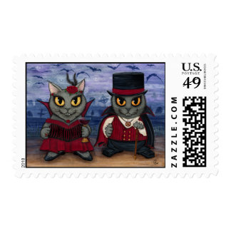 Vampire Cat Couple Gothic Cemetery Fantasy Art Pos Postage