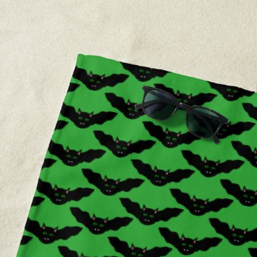 Beach Themed Vampire Cat Faced Bat Halloween Beach Towel