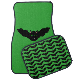 Vampire Cat Faced Bat Halloween Car Mat Set