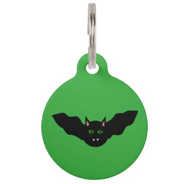 Halloween Themed Vampire Cat Faced Bat Halloween  Custom Dog Tag