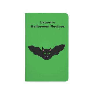 Vampire Cat Faced Bat Halloween Custom Recipe Journal