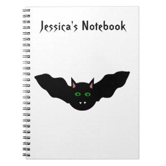 Vampire Cat Faced Bat Halloween Customizable Noteb Spiral Notebook