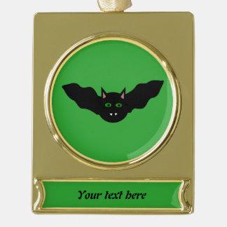 Vampire Cat Faced Bat Halloween CustomOrnament Gold Plated Banner Ornament