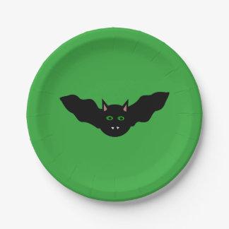 Vampire Cat Faced Bat Halloween Paper Party Plates