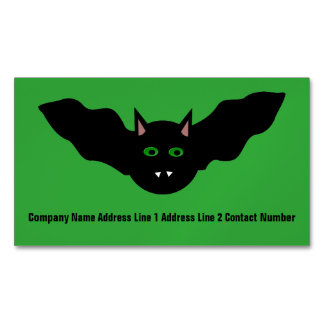 Vampire Cat Faced Bat Halloween Personalized Magnetic Business Card