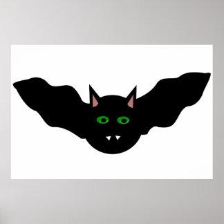 Vampire Cat Faced Bat Halloween Poster