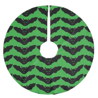 Vampire Cat Faced Bat Halloween Tree Skirt