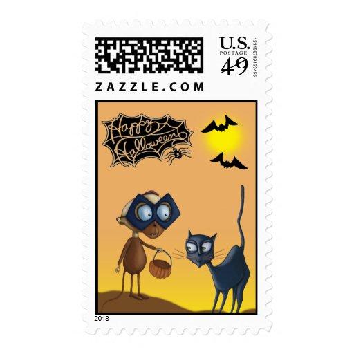 Vampire & cat Halloween Postage