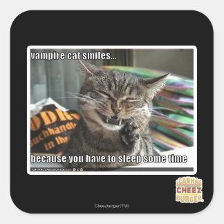 vampire cat smiles square sticker
