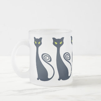 Vampire Cat With Green Eyes 10 Oz Frosted Glass Coffee Mug